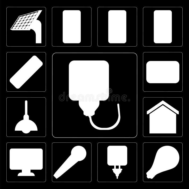 Grupo de tomada, luz, microfone, painel, casa esperta, iluminação, ilustração do vetor