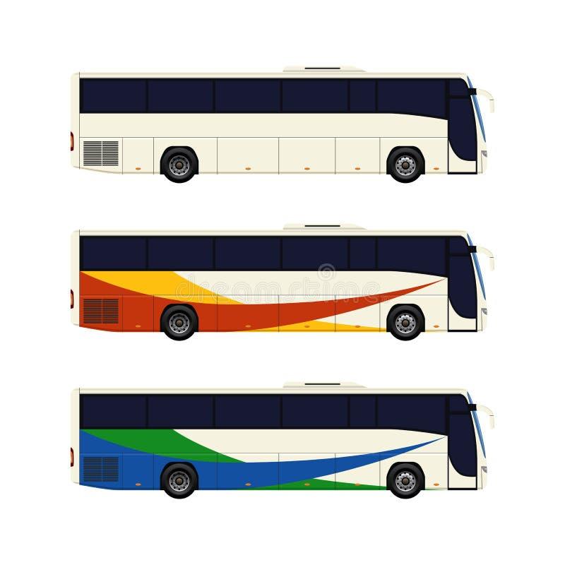 Grupo de três ícones do ônibus do treinador ilustração do vetor