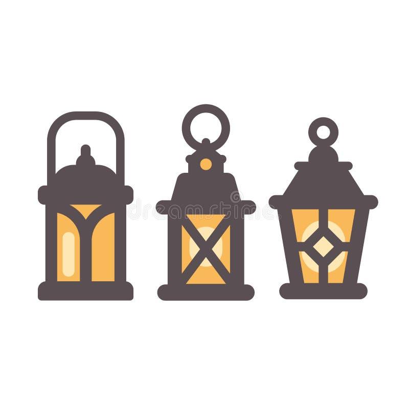 Grupo de três ícones lisos das lanternas rústicas velhas ilustração royalty free