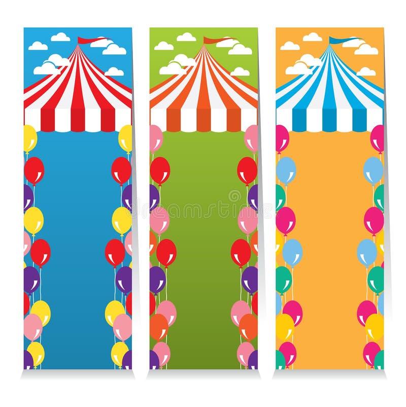 Grupo de três bandeiras coloridas do vertical do tema do circo ilustração do vetor