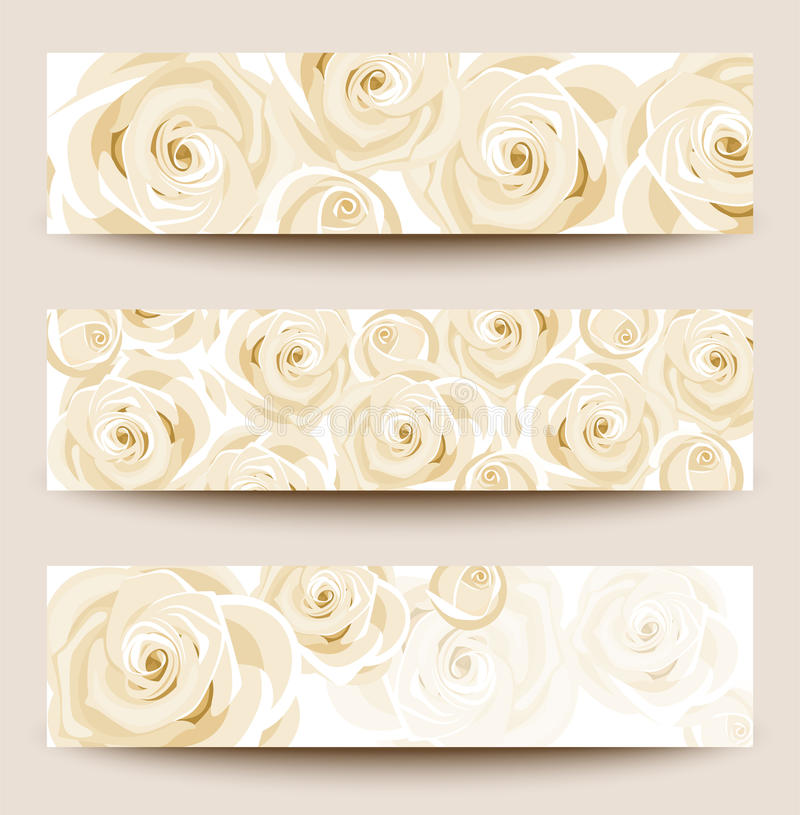 Grupo de três bandeiras com rosas brancas. ilustração stock