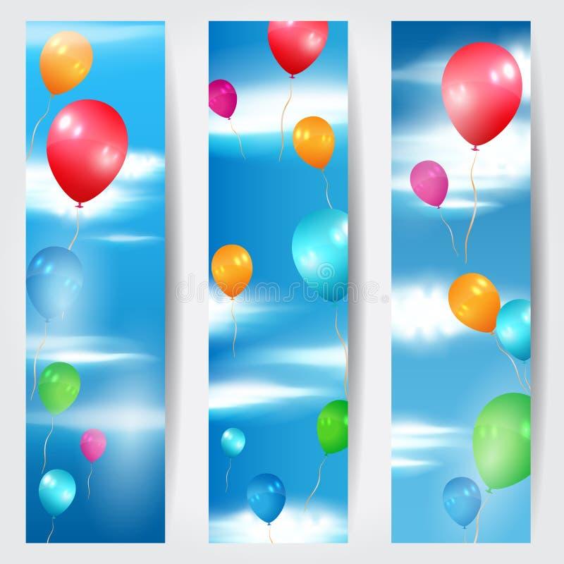Grupo de três bandeiras da Web com os balões que voam em t ilustração stock