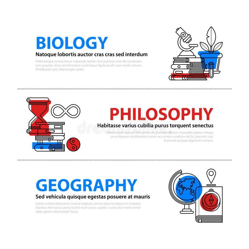 Grupo de três bandeiras da Web sobre assuntos da educação e da faculdade no estilo liso da ilustração Biologia, filosofia e geogr ilustração do vetor