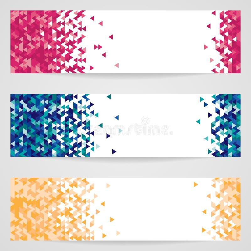 Grupo de três bandeiras do vetor com teste padrão geométrico ilustração stock