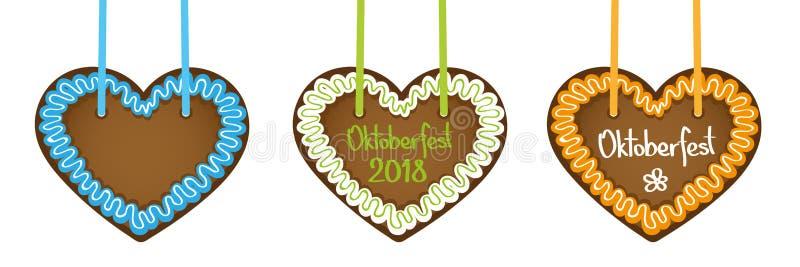 Grupo de três corações do pão-de-espécie com tipografia 2018 de Oktoberfest ilustração royalty free