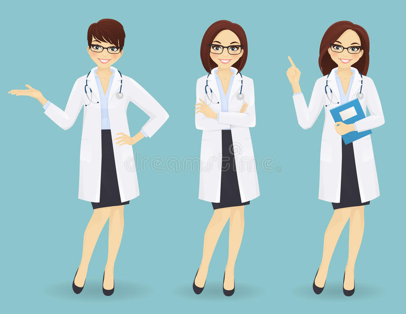 Grupo de três doutores fêmeas em poses diferentes ilustração royalty free