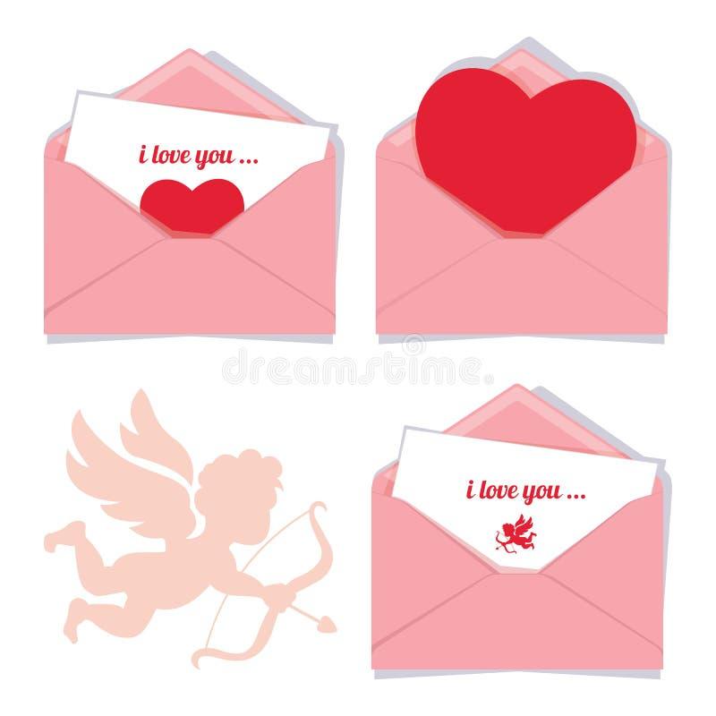 Grupo de três envelopes românticos do Valentim do vetor cor-de-rosa, isolado ilustração do vetor
