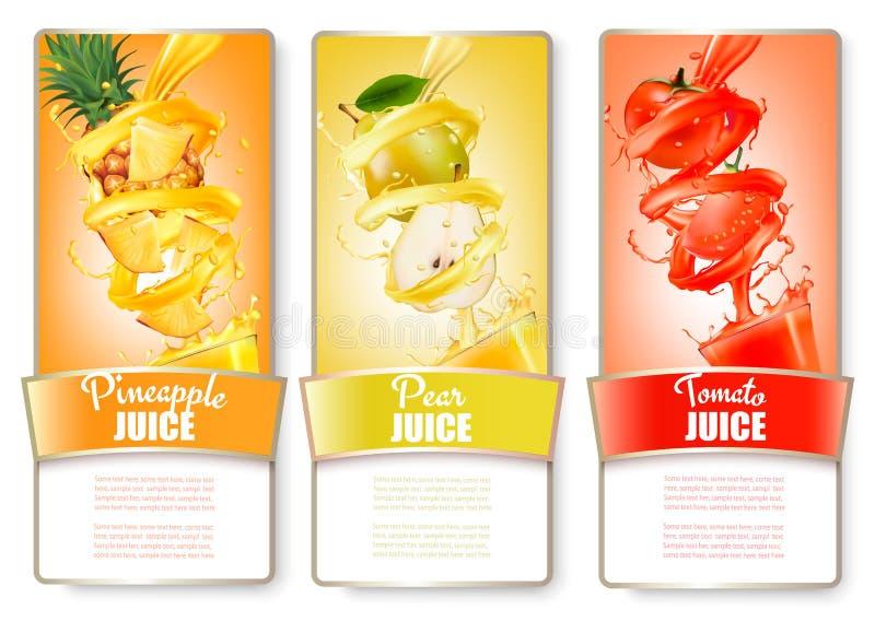 Grupo de três etiquetas do fruto no respingo do suco ilustração stock