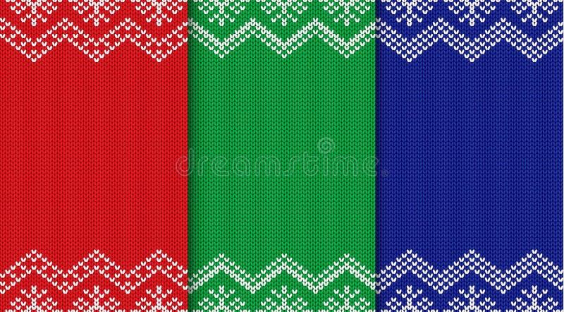 Grupo de três fundos feitos malha do Natal Ornamento geométrico sem emenda ilustração stock