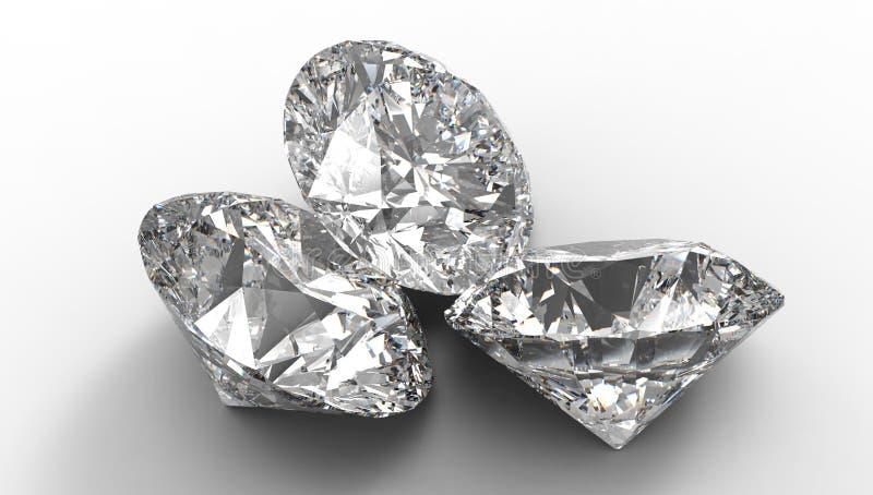 Grupo de três grandes diamantes ilustração do vetor