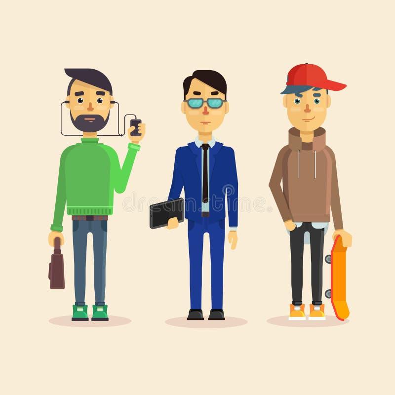 Grupo de três homens: Gerente, trabalhador de escritório ou homem de negócios e um skater novo ilustração royalty free