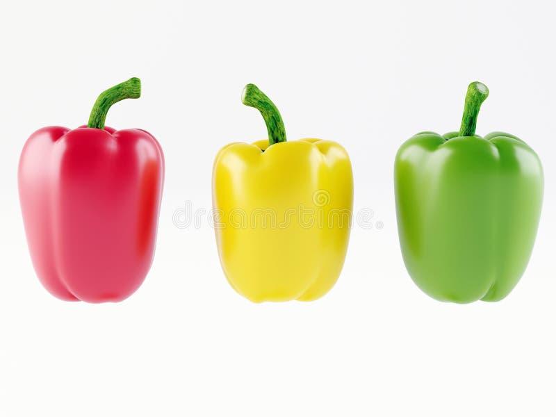 Grupo de três pimentas Pimenta amarela, vermelha e verde ilustração stock