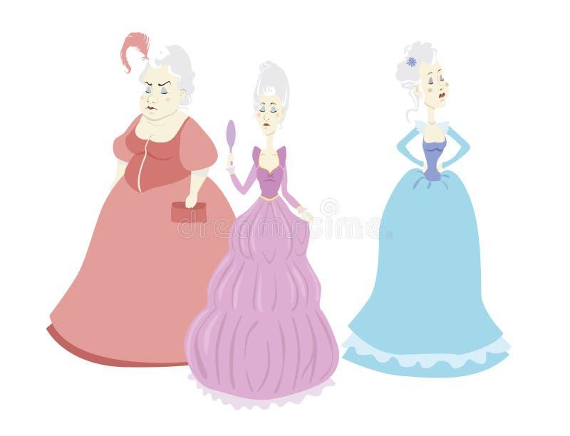 Grupo de três princesas orgulhosas dos desenhos animados do vetor no fundo branco ilustração stock