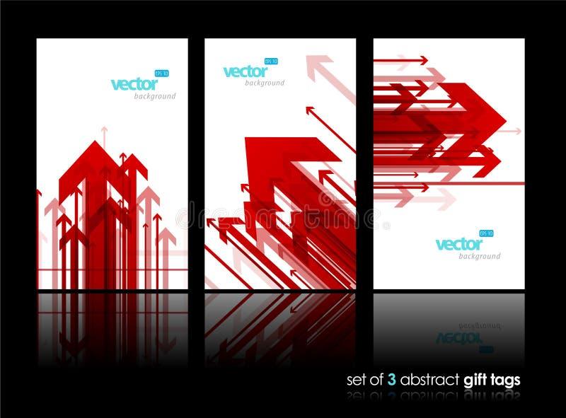 Grupo de três vales-oferta com setas vermelhas ilustração do vetor