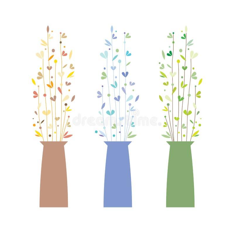 Grupo de três vasos com flores ilustração stock