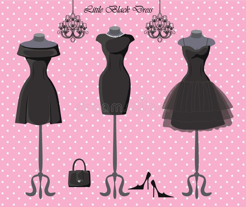Grupo de três vestidos pequenos do preto ilustração royalty free