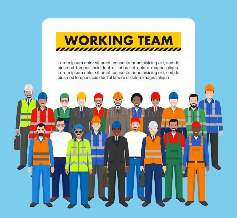 Grupo de trabajador, de constructor y de ingeniero uniéndose en fondo azul en estilo plano Concepto de trabajo del equipo y del t stock de ilustración