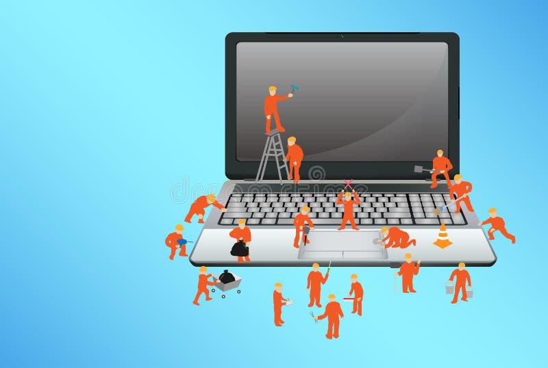 Grupo de trabajador que trabaja en un smartphone ilustración del vector