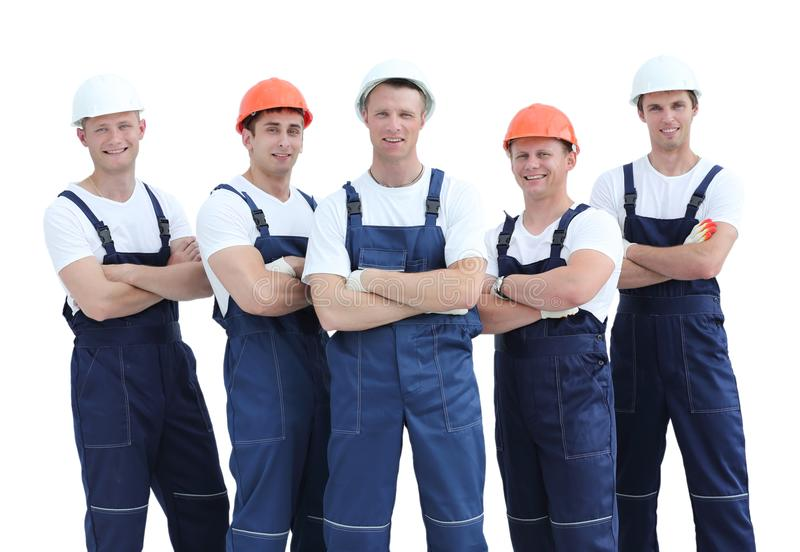 Grupo de trabajadores industriales profesionales imagenes de archivo