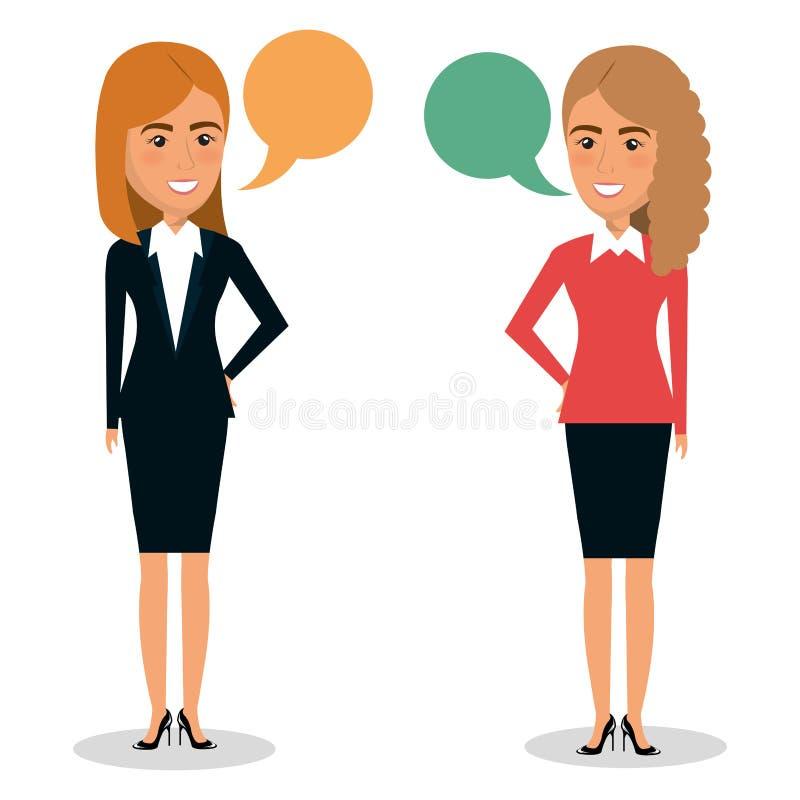 Grupo de trabalhos de equipa da mulher de negócios com bolhas do discurso ilustração royalty free