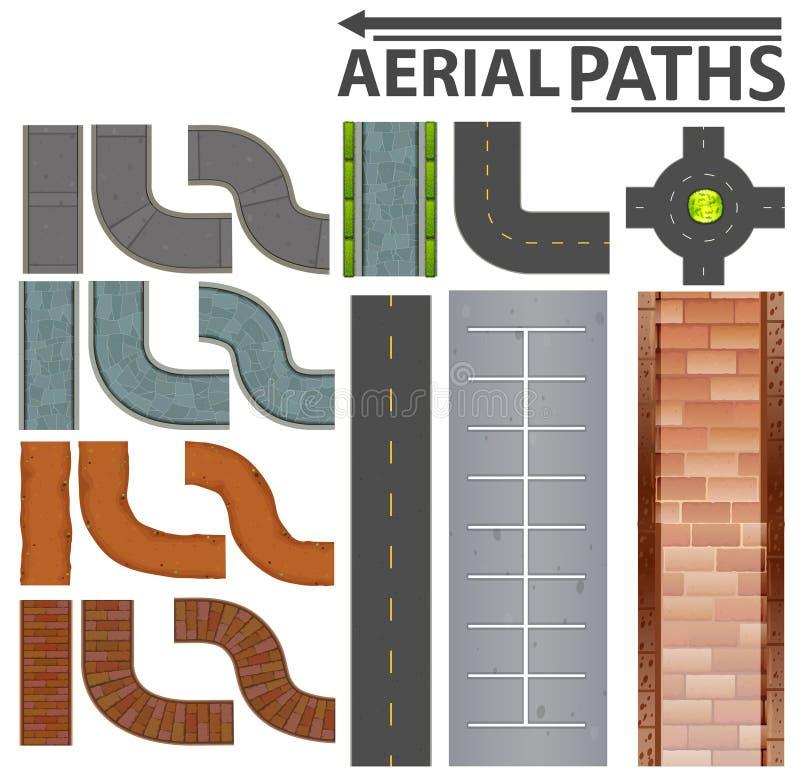 Grupo de trajetos aéreos ilustração stock