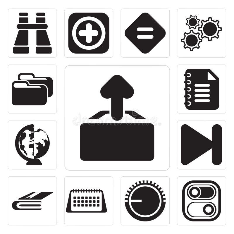 Grupo de transferência de arquivo pela rede, interruptor, controle de volume, calendário, caderno, seguinte, ilustração do vetor