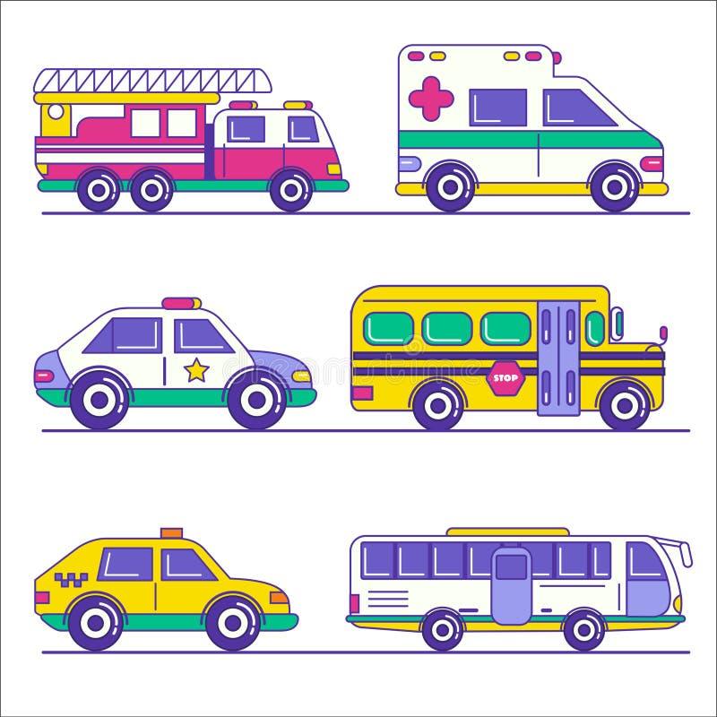 Grupo de transporte público e de transporte da cidade na linha na moda s ilustração stock