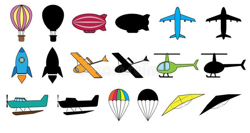Grupo de transportes aéreos: balão, dirigible, avião, foguete de espaço, hidroavião, helicóptero, hidroavião, paraquedas, planado ilustração do vetor
