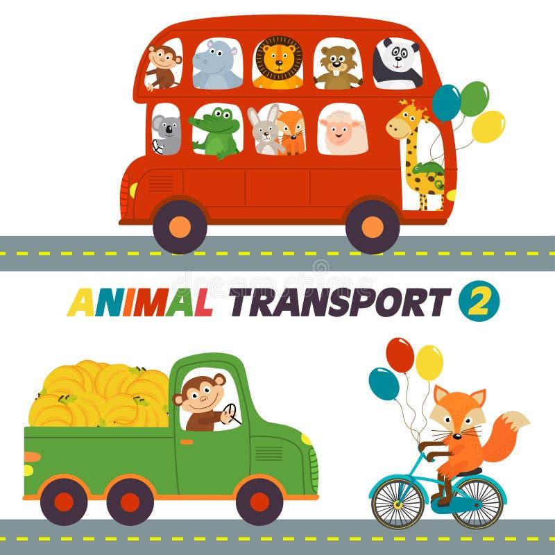 Grupo de transportes isolados com parte 2 dos animais ilustração royalty free