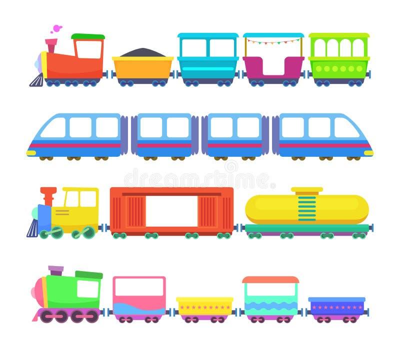 Grupo de trens diferentes das crianças Jogos do vetor para crianças ilustração do vetor