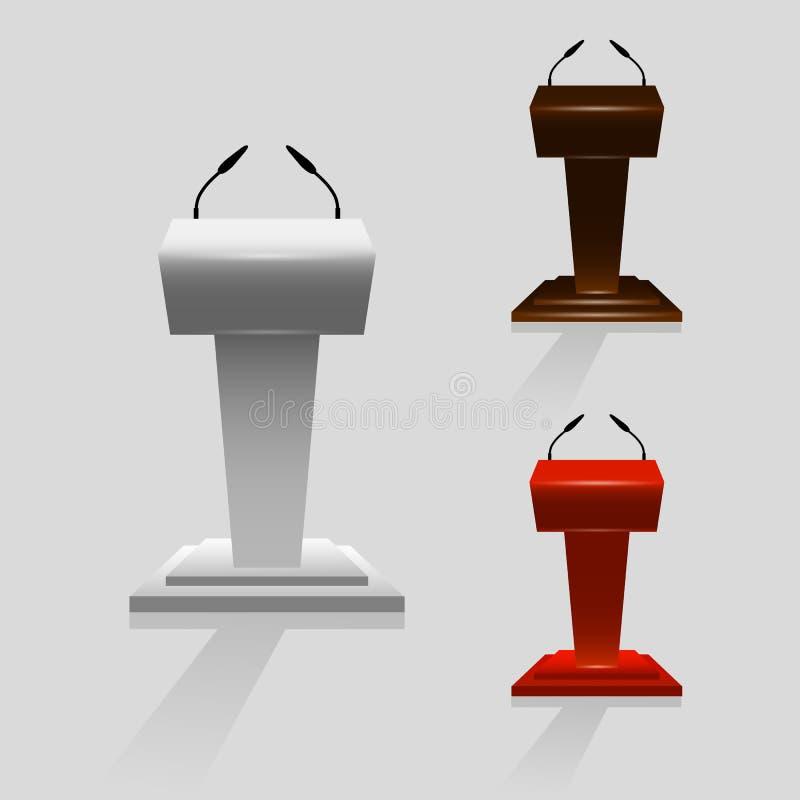 Grupo de tribuna para o orador dos desempenhos com os microfones na fase, moldes para atividades de projeto, ilustração do vetor ilustração do vetor