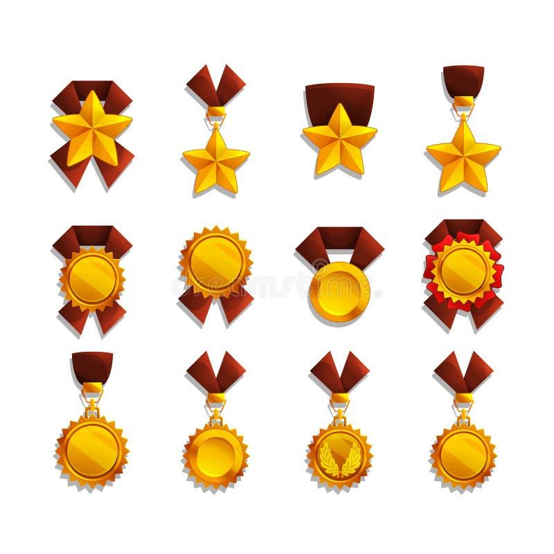 Grupo de troféu e de medalhas ilustração royalty free