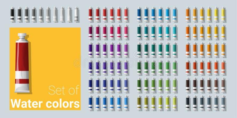Grupo de tubos de cor da água ilustração do vetor