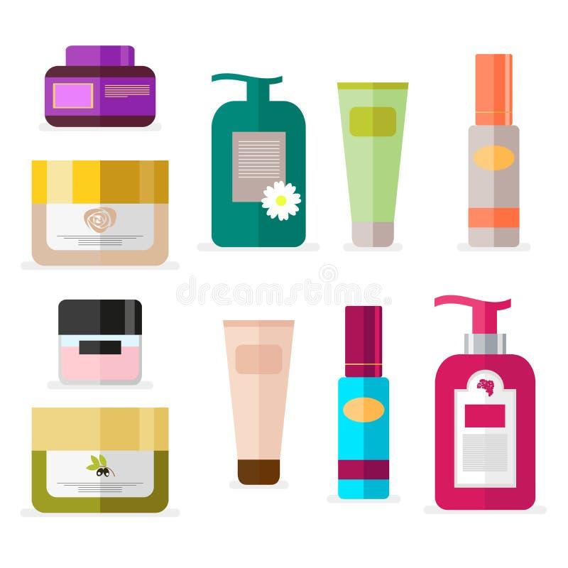 Grupo de tubos e de cosméticos dos tubos de ensaio Ferramentas para a beleza e os cuidados com a pele Vetor, ilustração isolada n ilustração royalty free