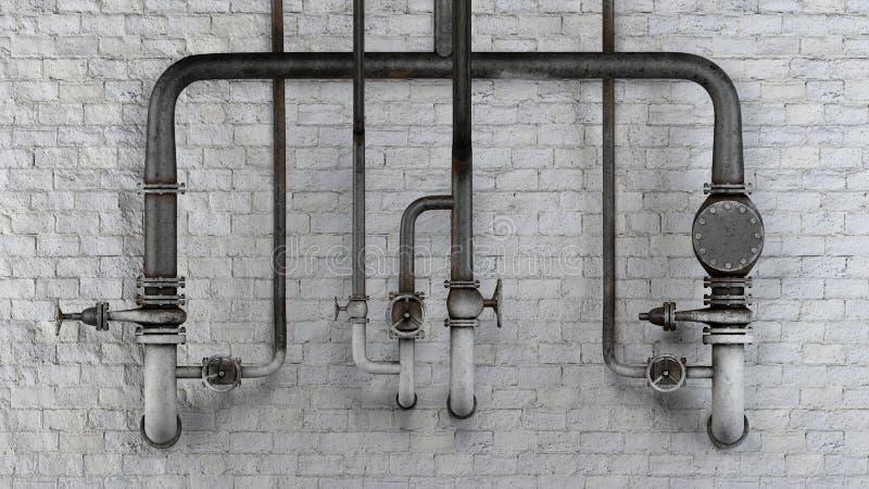 Grupo de tubulações e de válvulas velhas, oxidadas contra a parede de tijolo clássica branca ilustração royalty free
