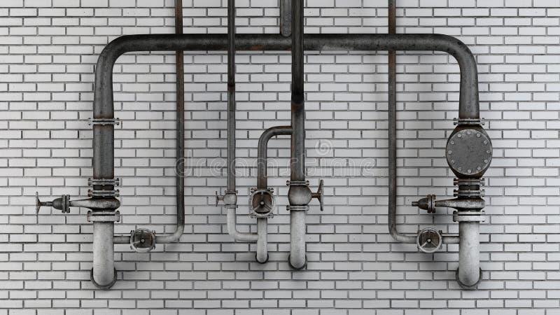 Grupo de tubulações e de válvulas velhas, oxidadas contra a parede de tijolo moderna branca ilustração do vetor