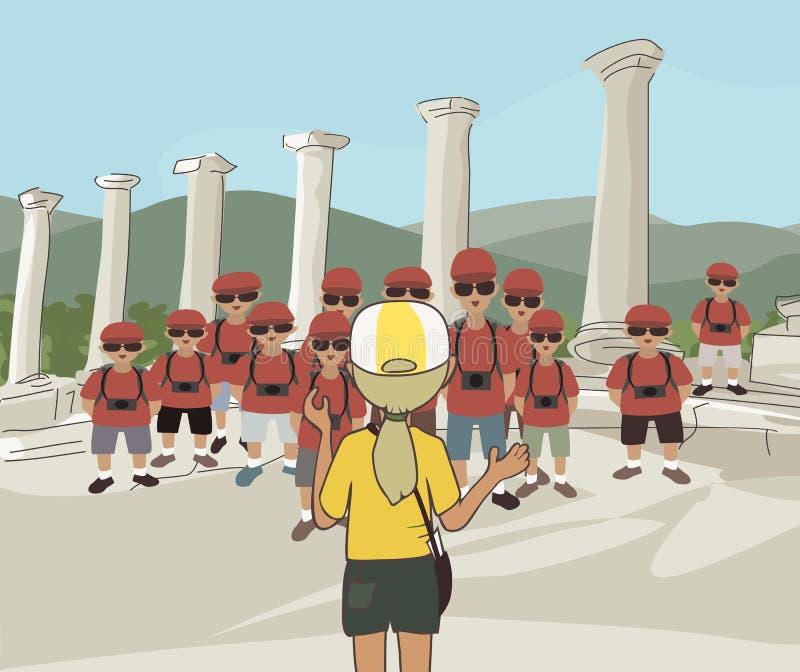 Grupo de turistas en el sitio histórico libre illustration