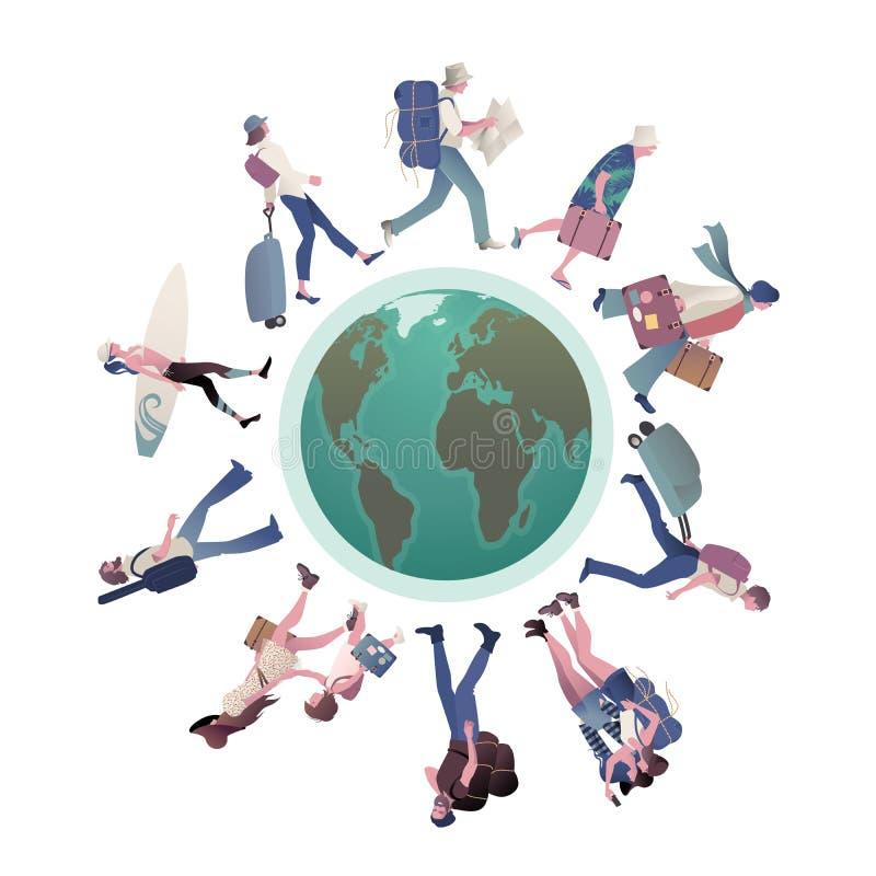 Grupo de turistas que caminan en todo el mundo stock de ilustración