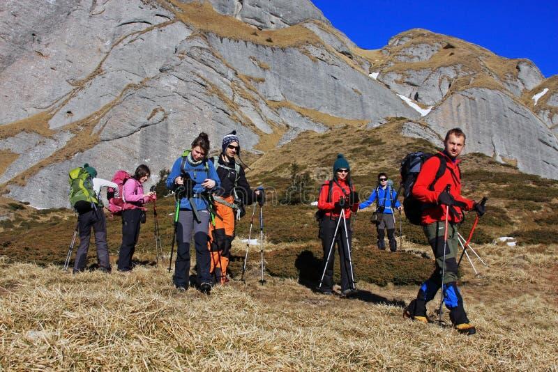 Grupo de turistas que emigran en las montañas de Ciucas, Rumania foto de archivo libre de regalías
