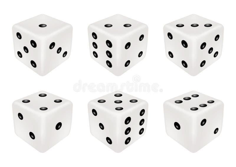 Grupo de um dado branco três dimensões ilustração royalty free