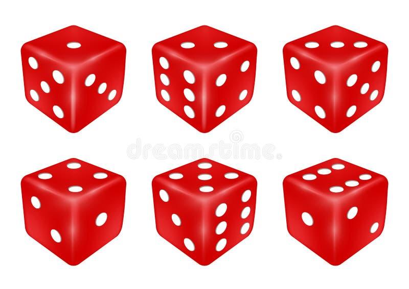 Grupo de um dado vermelho três dimensões ilustração do vetor