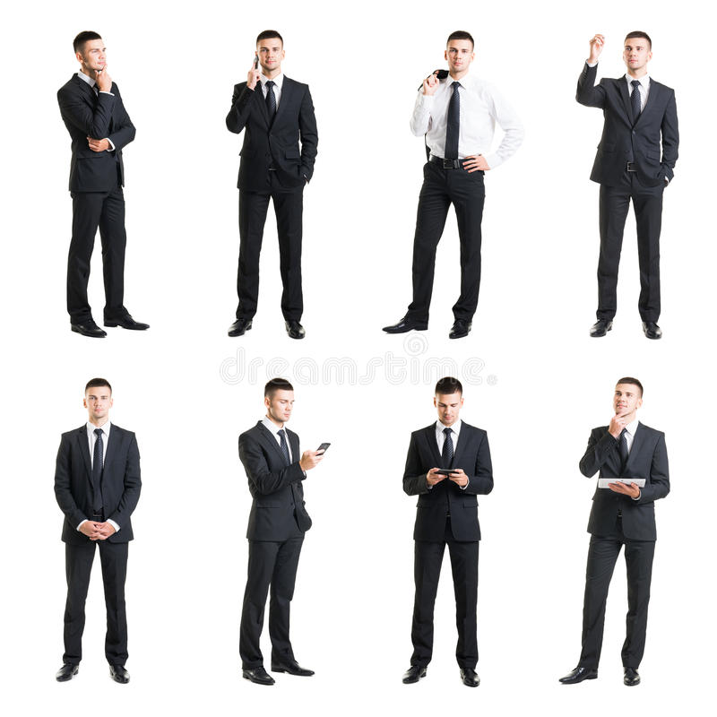 Grupo de um homem de negócios considerável novo isolado no branco imagens de stock