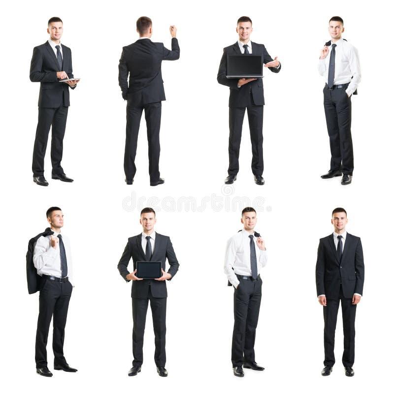 Grupo de um homem de negócios novo e considerável isolado no branco Negócio, carreira, trabalho, conceito foto de stock