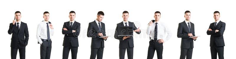 Grupo de um homem de negócios novo e considerável isolado no branco Busin fotografia de stock royalty free