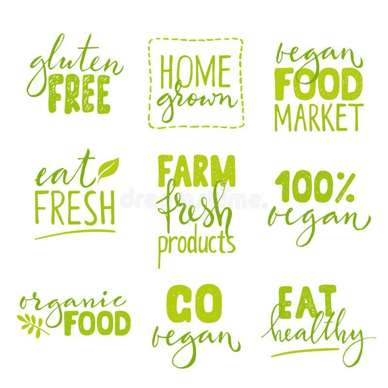 Grupo de um logotipo de nove alimentos biológicos com rotulação Combinações tiradas do texto do alimento mão saudável ilustração do vetor