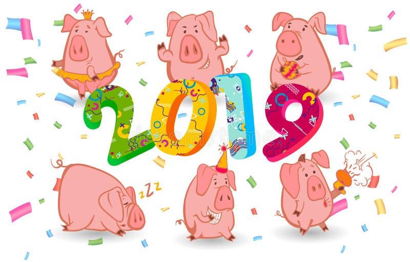 Grupo de um símbolo de 6 chineses do porco de 2019 anos com emoções diferentes Ilustração isolada vetor Projeto criativo do sim n ilustração do vetor