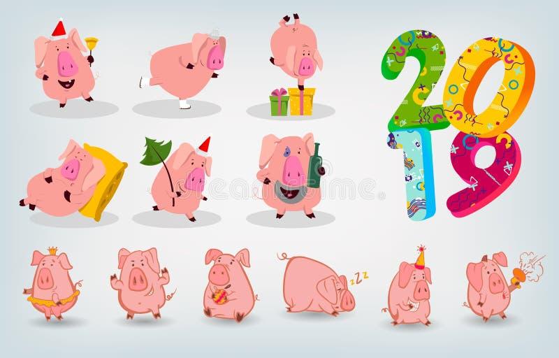 Grupo de um símbolo de 12 chineses do porco de 2019 anos com emoções diferentes Ilustração isolada vetor Projeto criativo do YE n ilustração do vetor