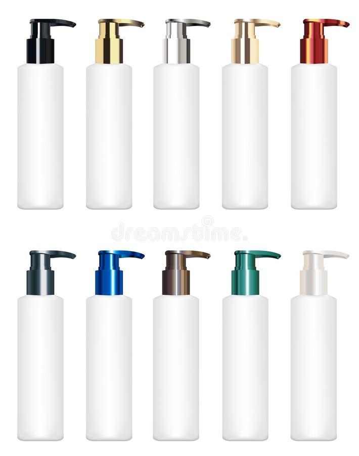 Grupo de um vetor cosmético colorido real do tubo ilustração royalty free