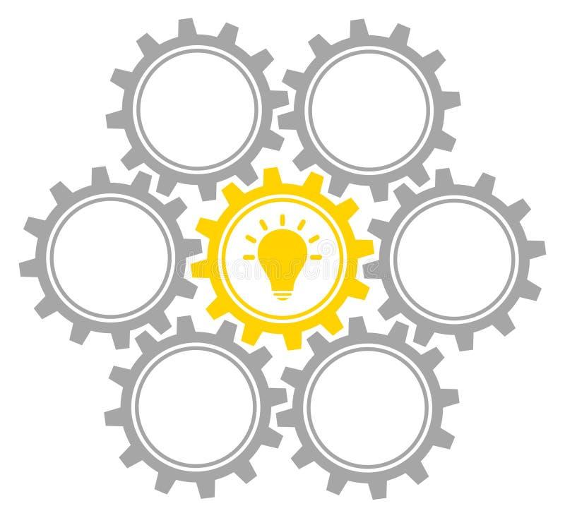 Grupo de uma ideia Gray And Yellow médio de sete engrenagens do gráfico ilustração royalty free