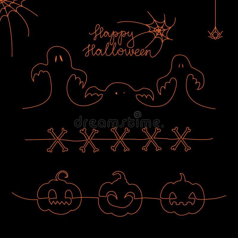 Grupo de uma linha elementos de Dia das Bruxas: abóbora, ossos, fantasma, aranha, spiderweb ilustração do vetor